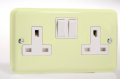 Varilight Pastel 2 Gang 13A Switched Socket White Chocolate XY5W.WC